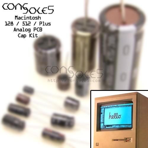 Macintosh 128K 512K Plus Analog International PCB Cap Kit: 630-0108 / 630-0122  240v