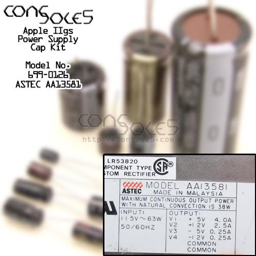 Apple 2GS 699-0126 - Astec AA13581 Power Supply Cap Kit