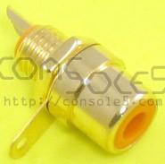 RCA Jacks: ORANGE, Gold Plated, Panel mount, solder type