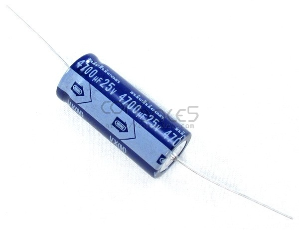 4700uF 25v Axial Nichicon Capacitor, 85°C, 2000 Hrs 85°C 4,700uF