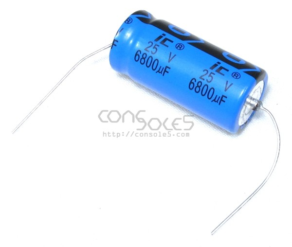 6800uF 25v Axial Illinois / Cornell Dubilier Capacitor, 85°C 6,800uF