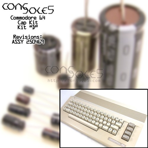 "Commodore 64 C64C Cap Kit ""D"" - ASSY 250469 & 252311"
