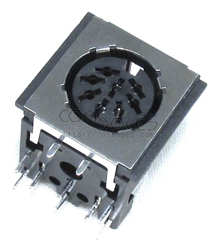 DIN 8 pin Socket: PCB through hole mount, EMI shielded and A/V rated (C style 270)