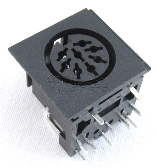 DIN 8 pin Connector Socket, PCB through hole mount (C style 270)