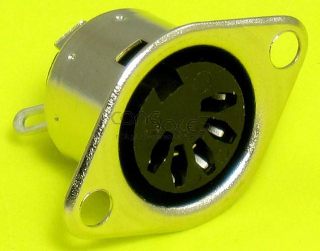 Premium DIN Connector Socket: 5 pin, Panel Mount, Solder-lug
