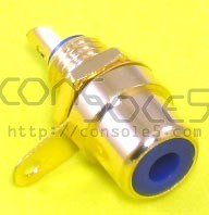 RCA Jacks: BLUE, Gold Plated, Panel mount, solder type