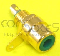 RCA Jacks: GREEN, Gold Plated, Panel mount, solder type