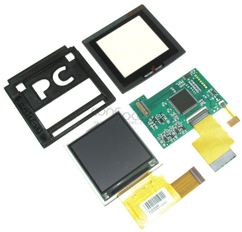 "SNK Neo Geo Pocket Color SLIM Modern Backlit 2.2"" LCD Kit, Glass Lens, Bracket - For SLIM later-model NGPC"