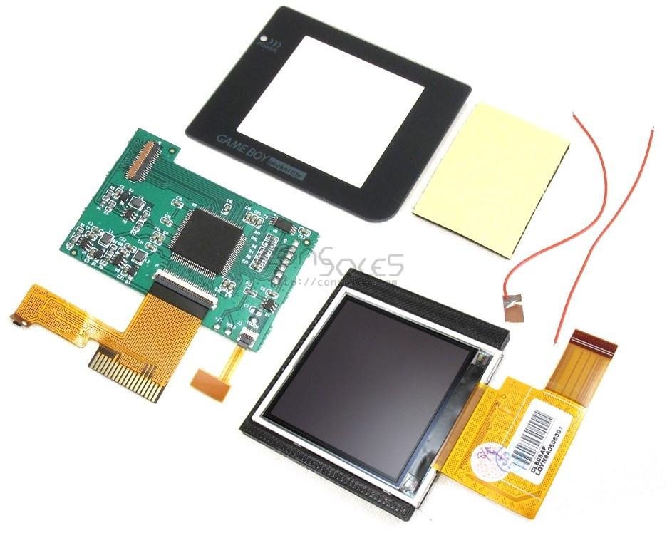 """NO CUT Nintendo Game Boy Pocket Modern Backlit 2.2"""" LCD Upgrade Kit, Glass Lens & Bracket"""