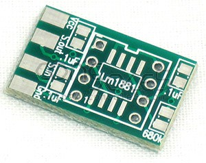 LM1881 Sync Cleaner PCB, Capacitors, and Resistor