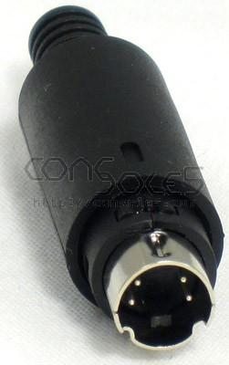 Mini DIN 4 Connector Plug, In Line, Solder-Type (S-video), Black