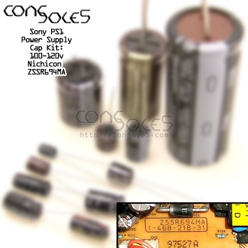 Sony Playstation PS1 Power Supply Cap Kit: Nichicon ZSSR694MA / 1-468-218-31
