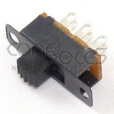DPDT Slide Switch: 2 Position: ON-ON, Solder Eyelet Terminals