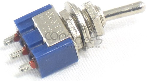SPDT Toggle Switch: 3 Position: ON-OFF-ON, Solder Eyelet Terminals