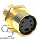 S-video Jacks: Gold Plated, Panel Mount, Solder Type, Mini DIN 4, SVHS