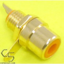 RCA Jacks: ORANGE, Gold Plated, Panel mount, solder type