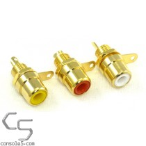 Set of 3 Gold-plated Stereo AV RCA Jacks - RED YELLOW WHITE - Panel Mount, Solder Type