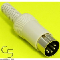 Premium DIN Connector Plug: 5 pin, In Line Male, Solder cup, Gray
