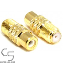 F-Type Female Cable Jack to RCA Female Adapter Connector, Gold Plated