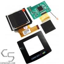 """NO CUT Nintendo Game Boy Color TFT Backlit 2.2"""" LCD Upgrade Kit, Glass Lens & LCD Bracket"""