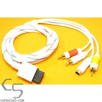 Wii / Wii U AV Composite & S-Video Cable Net Jacket Gold Plated SVHS WiiU
