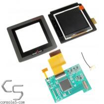 """SNK Neo Geo Pocket Color Modern Backlit 2.2"""" LCD Kit, Glass Lens, Bracket - For Original Full Size NGPC"""
