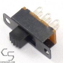 DPDT Slide Switch: 2 Position: ON-ON, Solder Eyelet Terminals