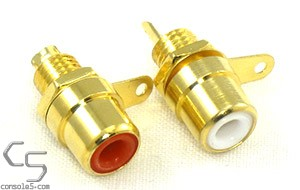 Set of 2 Gold-plated Stereo Audio RCA Jacks - RED WHITE - Panel Mount, Solder Type