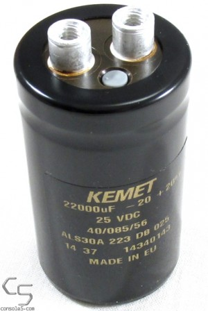 22000uF 25v Kemet Screw Terminal Electrolytic Capacitor, 85°C 22,000uF