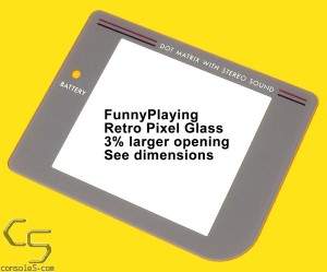 FunnyPlaying GLASS Game Boy DMG-01 Lens / Screen Cover for retro pixel kits (see product notes)
