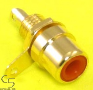 RCA Jacks: RED, Gold Plated, Panel mount, solder type