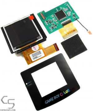 "NO CUT Nintendo Game Boy Color Modern Backlit 2.2"" LCD Upgrade Kit, Glass Lens & LCD Bracket"