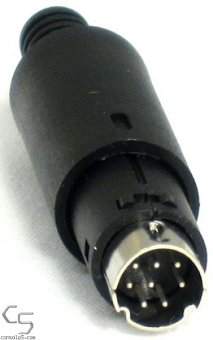 Mini DIN 8 Connector Plug, In Line, Solder Type, Black