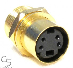 S-video Jacks: Gold Plated, Panel Mount, Solder Type, Mini DIN 4, SVHS