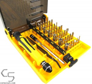 45 Piece Precision Security Screwdriver and Bit Set - torx, triwing, triangle, and more (see note)