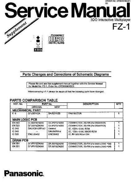 File Panasonic Fz 1 Service Manual Supplement Cpd9401004s1 Parts Changes And Corrections Of Schematic Diagrams Pdf Techwiki