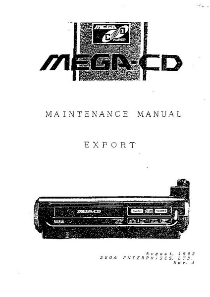 File:Mega-CD Maintenance Manual, Export, August, 1992, Rev A.pdf