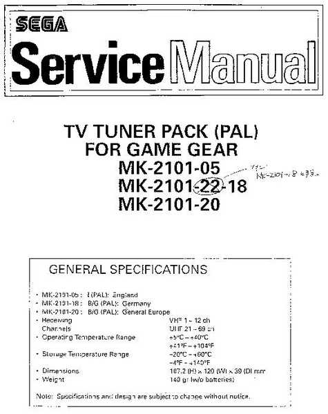 File:Service Manual - TV Tuner Pack (PAL) For Game Gear MK-2101 ...