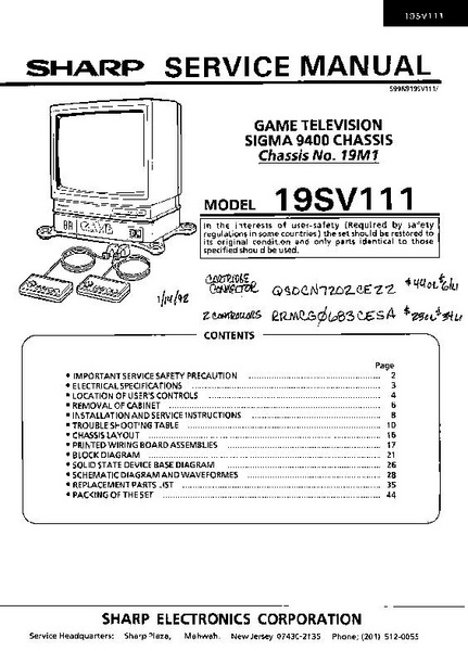 File:Sharp Service Manual - Game Television - Model 19SV111.pdf